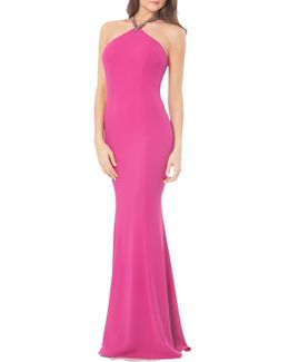 Beaded Neck Crepe Gown