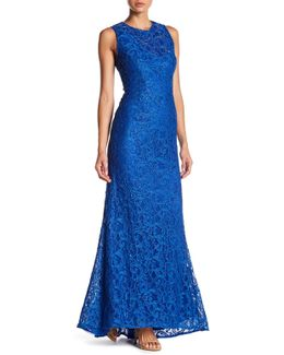 Embellished Lace Fishtail Gown