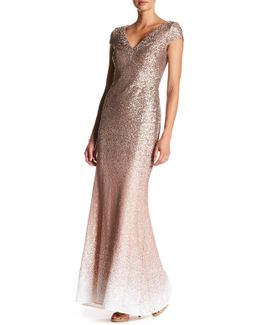 Ombre Sequined V-neck Gown