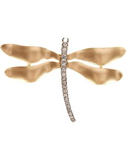 Two-tone Crystal Dragonfly Pin