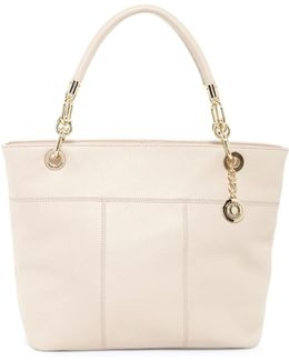 Signature Top Zip Leather Tote