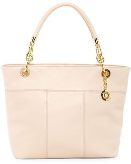 Signature Zip Top Leather Tote