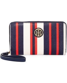 Signature Painted Stripe Wristlet Wallet