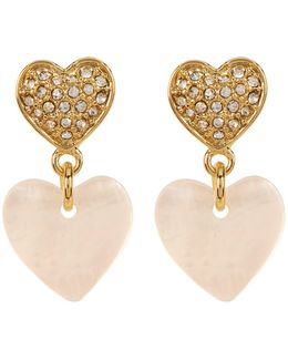 Pave Double Heart Drop Earrings