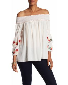 Embroidered Off-the-shoulder Gauze Blouse
