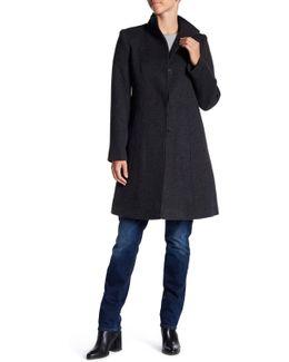 Funnel Neck Wool Coat