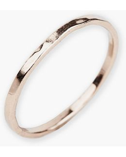 18k Rose Gold Plated Sterling Silver Hammered Ring - Size 6