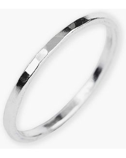 Sterling Silver Hammered Ring - Size 6
