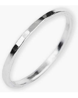 Sterling Silver Hammered Ring - Size 8