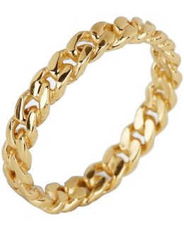 18k Gold Plated Link Band Ring - Size 6