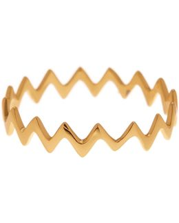 18k Gold Plated Sterling Silver Zig Zag Ring