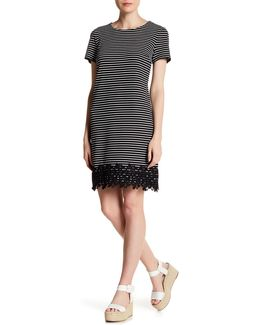 Stripe Crepe Knit Lace Hem Dress