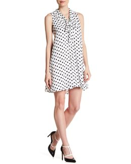 Tie Neck Equator Dot Swing Dress