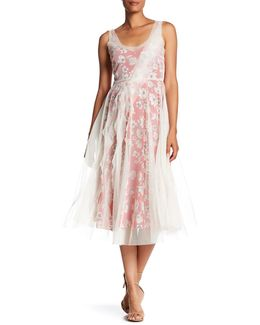 Tulle Overlay Floral Silk Dress