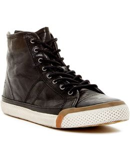 Greene Back Zip Genuine Shearling Lined Leather High Top Sneaker