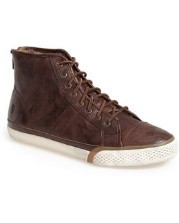 Greene Back Zip Shearling Lined Leather High Top Sneaker