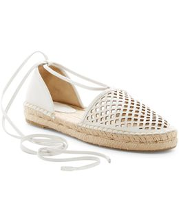Leo Perforated Ankle Wrap Espadrille Flat