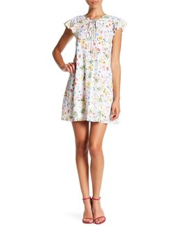 Alessa Short Sleeve Floral Print Front Tie Dress (petite)