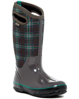 Classic Winter Plaid Tall Waterproof Rain Boot