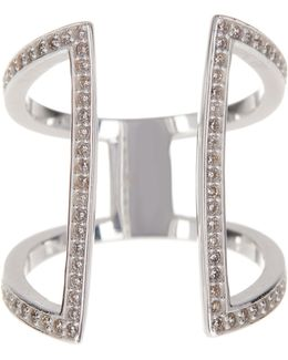 Sterling Silver Cz Double Bar Ring - Size 7