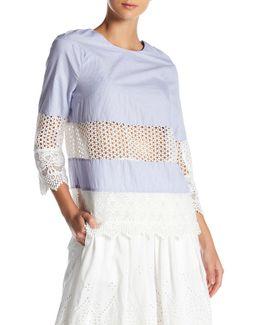Kyra Contrast Crochet Tunic Shirt