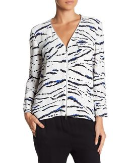 Front Zip Long Sleeve Print Blouse