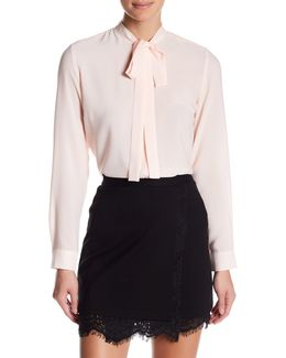 Pippa Plains Tie Neck Hi-lo Blouse