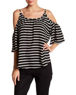 Polly Plains Cold Shoulder Stripe Blouse