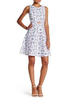 Eastyn Mosaic Print Cutout Dress