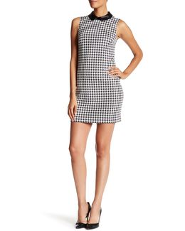 Brynn Sleeveless Houndstooth Shift Dress With Faux Leather Collar