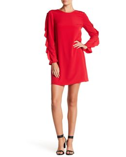 Drape Ruffle Sleeve Shift Dress