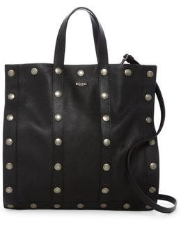 Metal Button Leather Tote