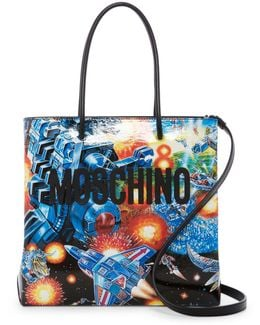 Spae Transformers Printed Leather Tote