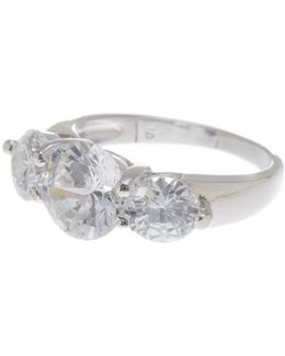 Sterling Silver 3-stone Cz Ring (size 5)