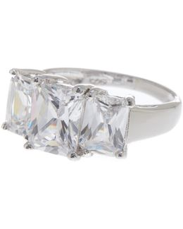 Sterling Silver 3-stone Princess Cut Ring (size 5)