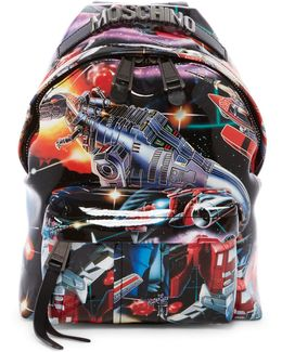 Small Transformers Printed Leather Backpack