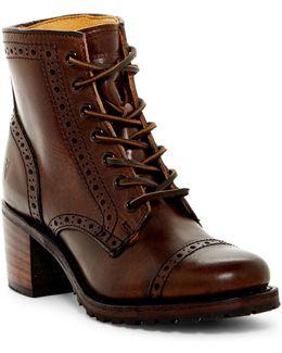Sabrina Brogue Block Heel Boot