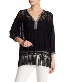 Long Sleeve Lace Front Tie Shirt