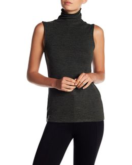 Sleeveless Turtleneck Sweater Top