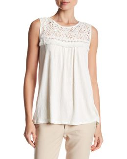 Lace Yoke Sleeveless Blouse