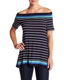 Off-the-shoulder Striped Tee