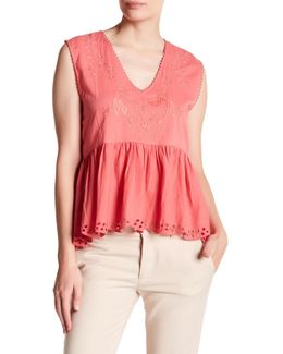 Embroidered Eyelet Peplum Blouse