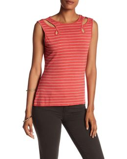 Striped Cutout Knit Tee