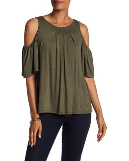 Pleated Cold Shoulder Shirt