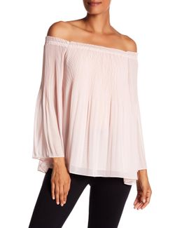Pleated Georgette Off-the-shoulder Blouse
