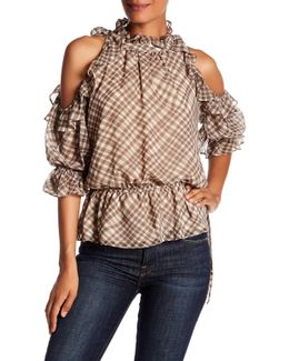 Plaid Cold Shoulder Georgette Blouse