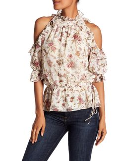 Floral Cold Shoulder Georgette Blouse