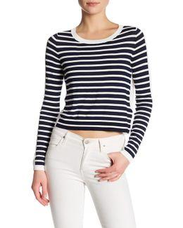 Long Sleeve Crew Neck Stripe Sweater