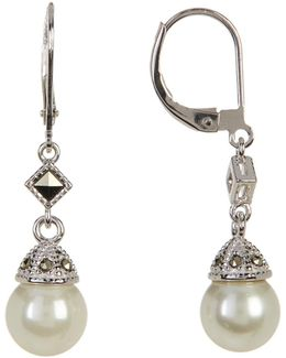 Sterling Silver Marcasite & Pearl Drop Earrings