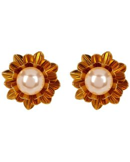 Simulated Pearl Flower Clip-on Earrings